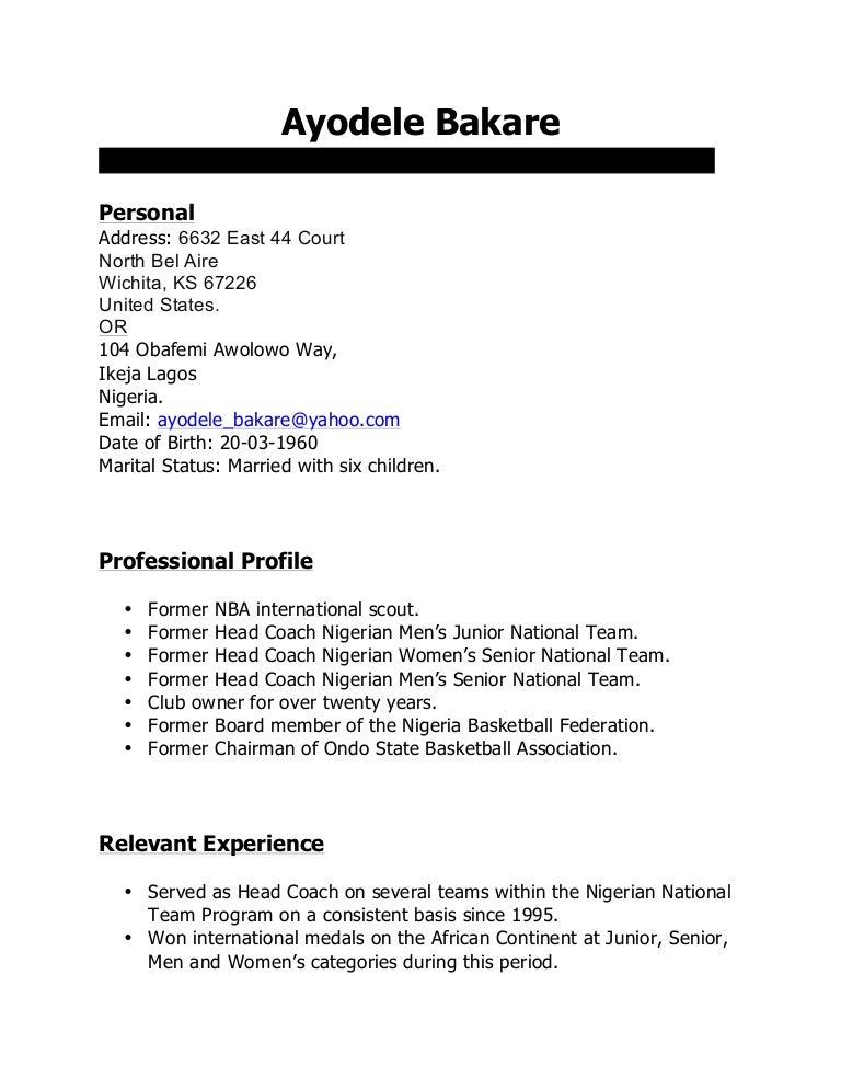 ayodele bakare basketball cv pdf
