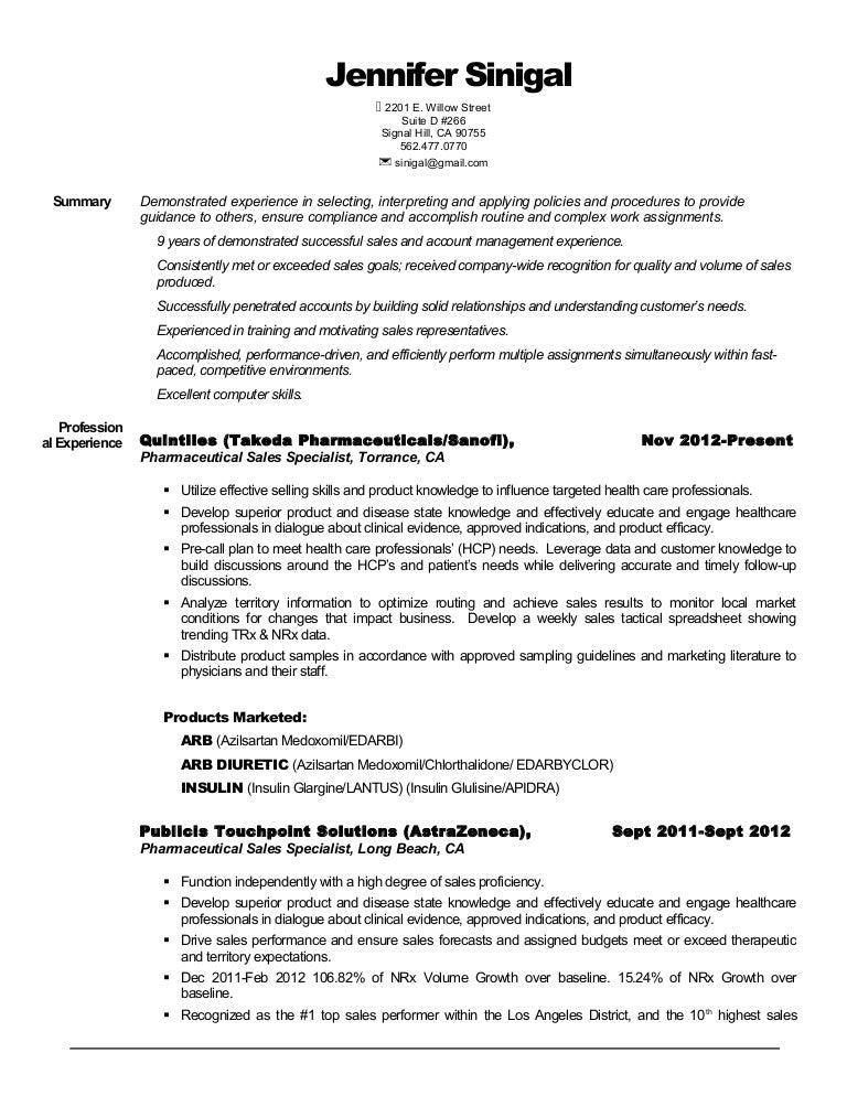 jennifer sinigal resume