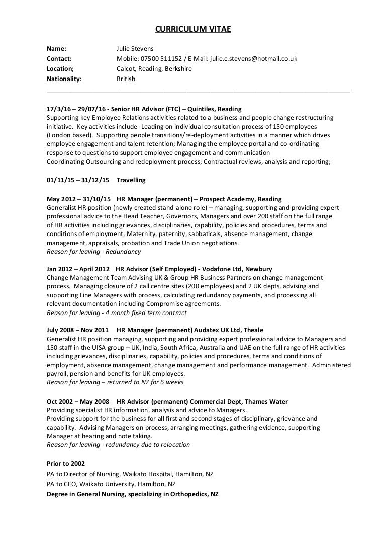 Fein Lebenslauf Hr Manager Generalist Bilder - Entry Level Resume ...