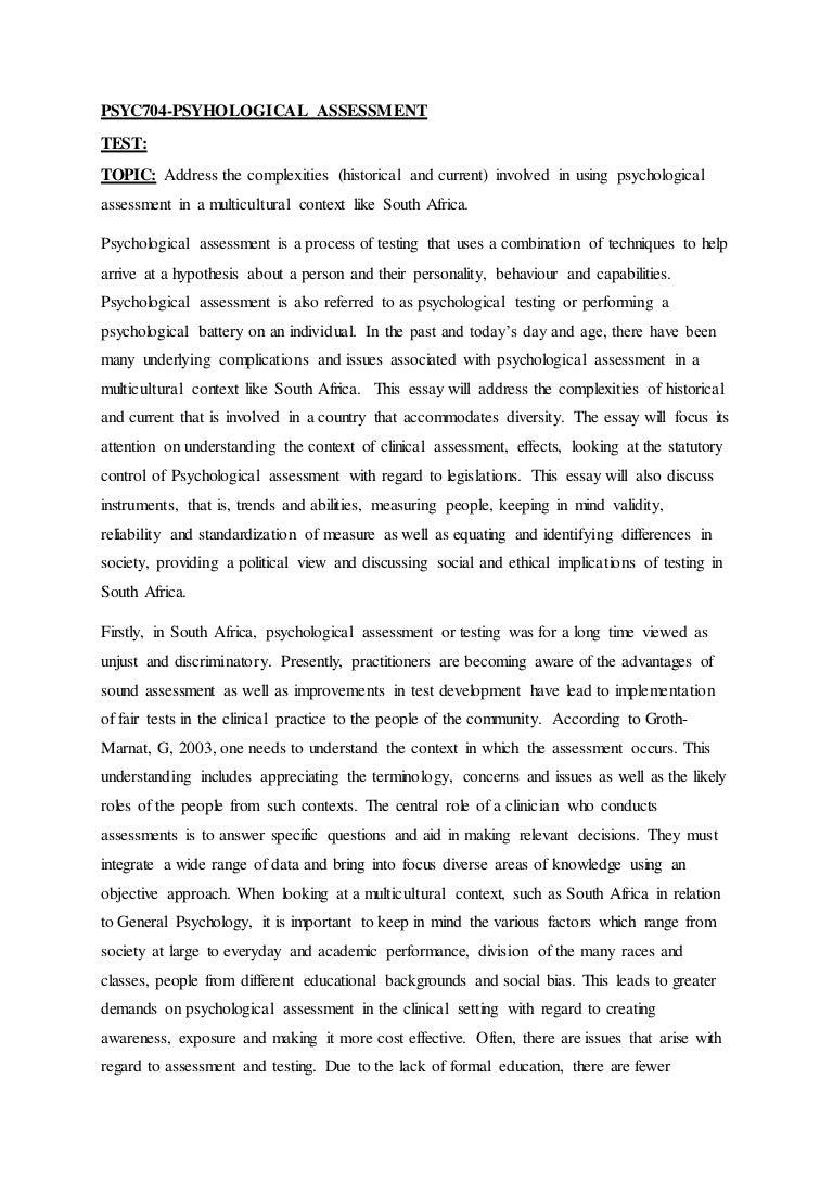 psyc test essay