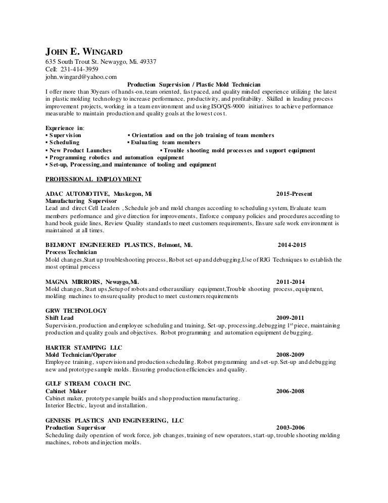 Resume JWingard Plastic Supervision 3 1 – Production Scheduler Job Description