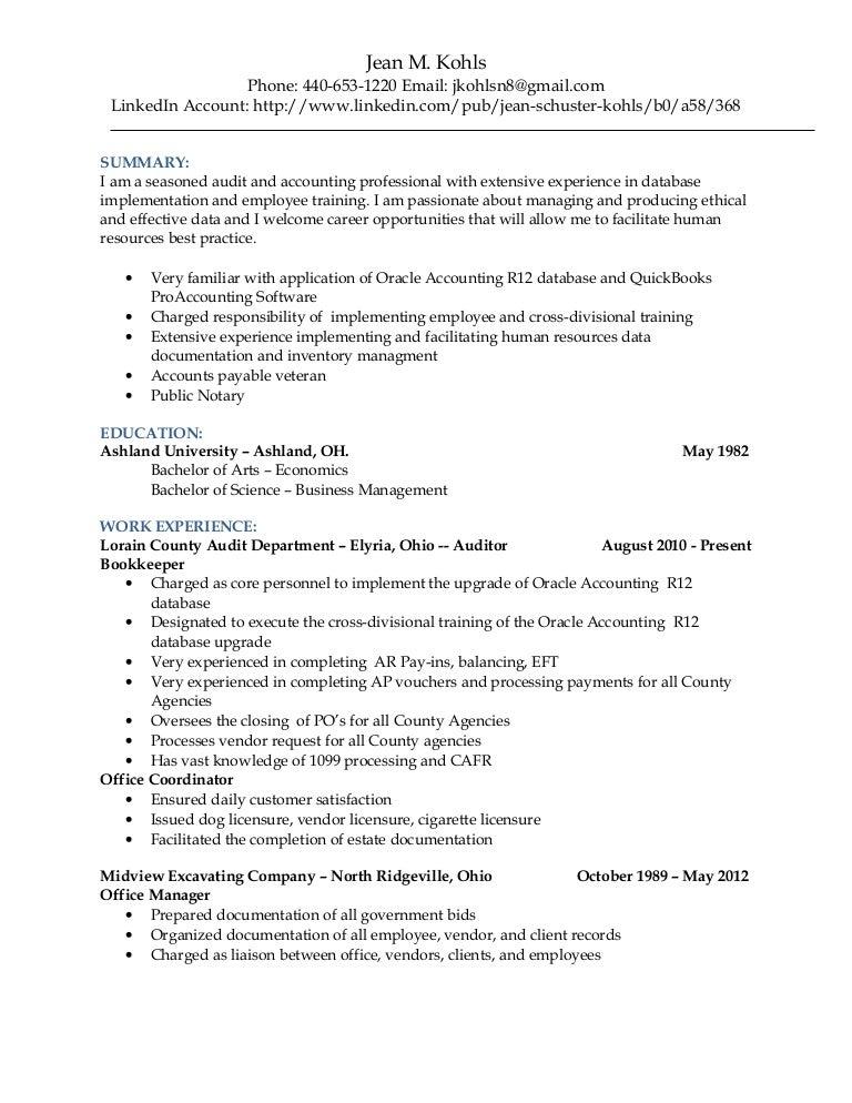 jean kohls resume 2015