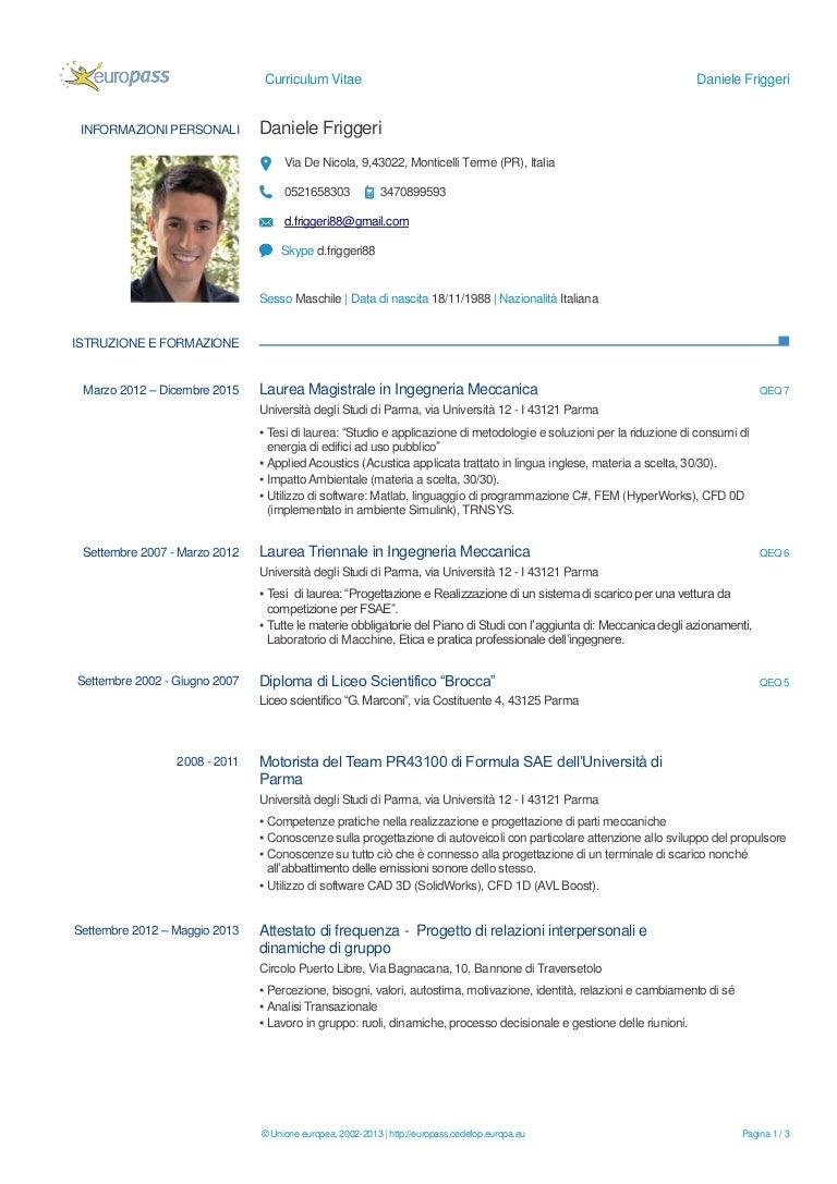CV Daniele Friggeri Magist