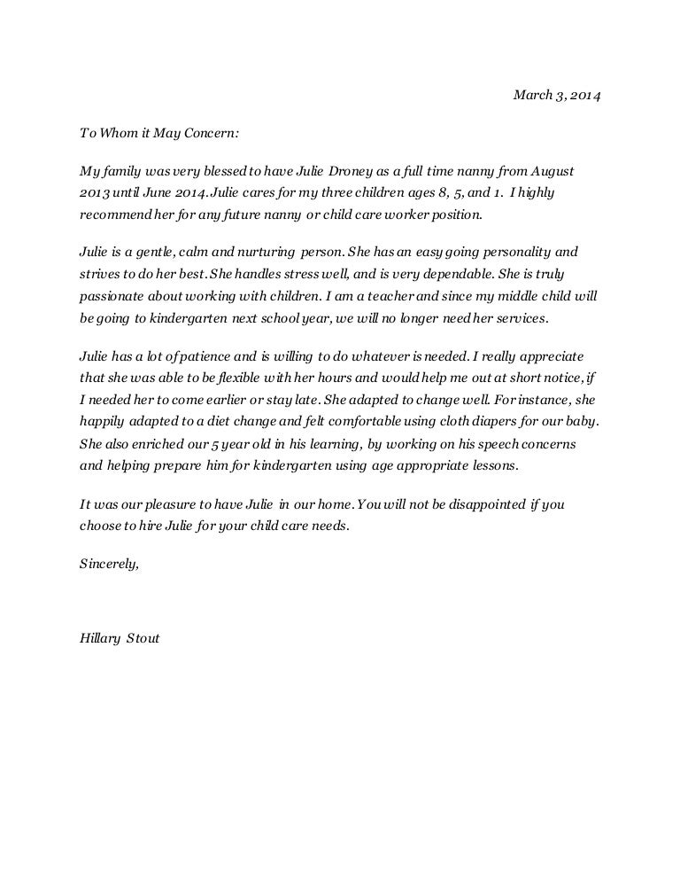 Julie Droney Reference Letter