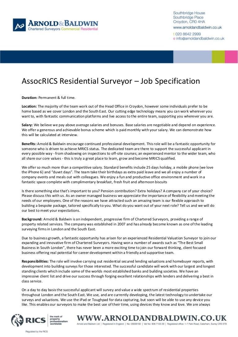AssocRICS Residential Surveyor - Job Specification