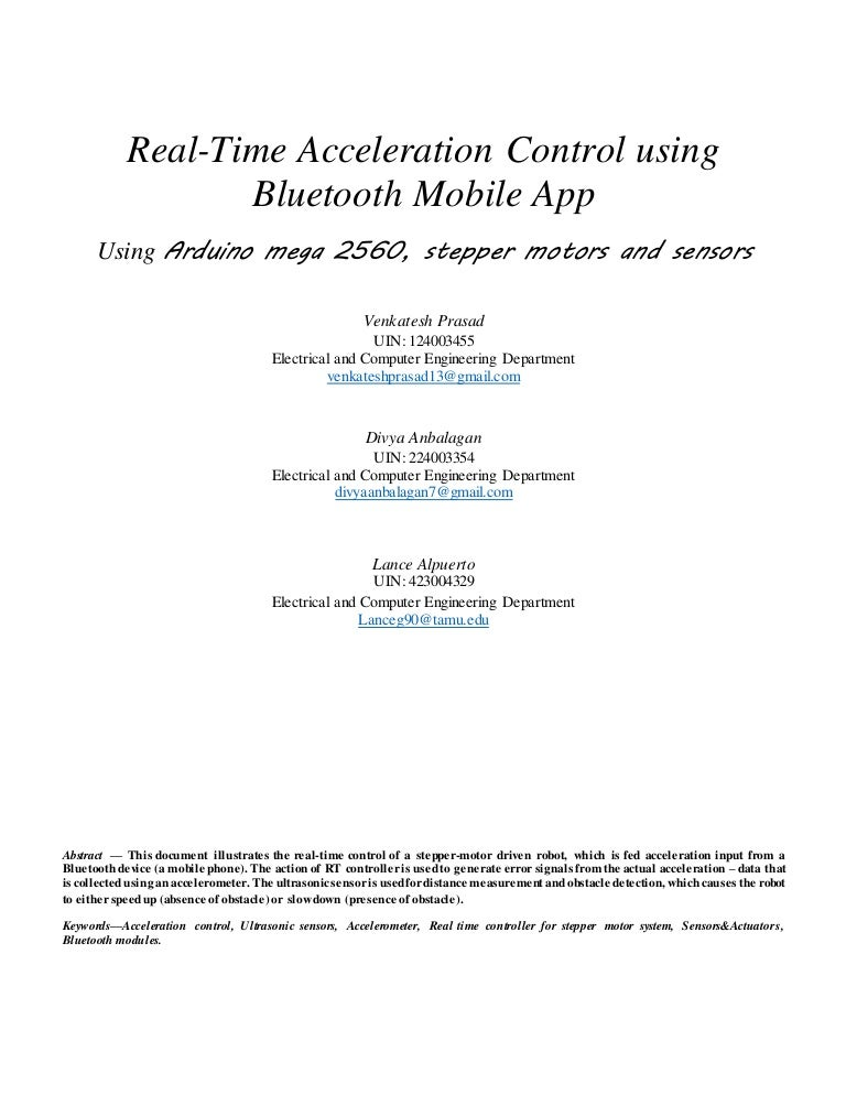 Real-Time Acceleration Control Using Bluetooth Mobile App