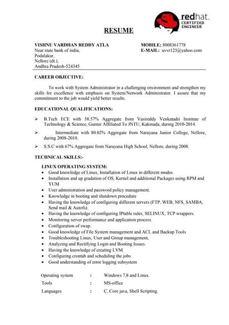 vishnu rhcsa resume
