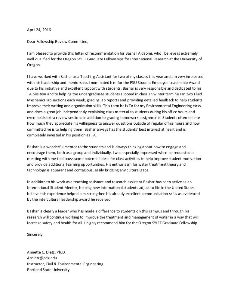 Cover Letter For Recommendation Report