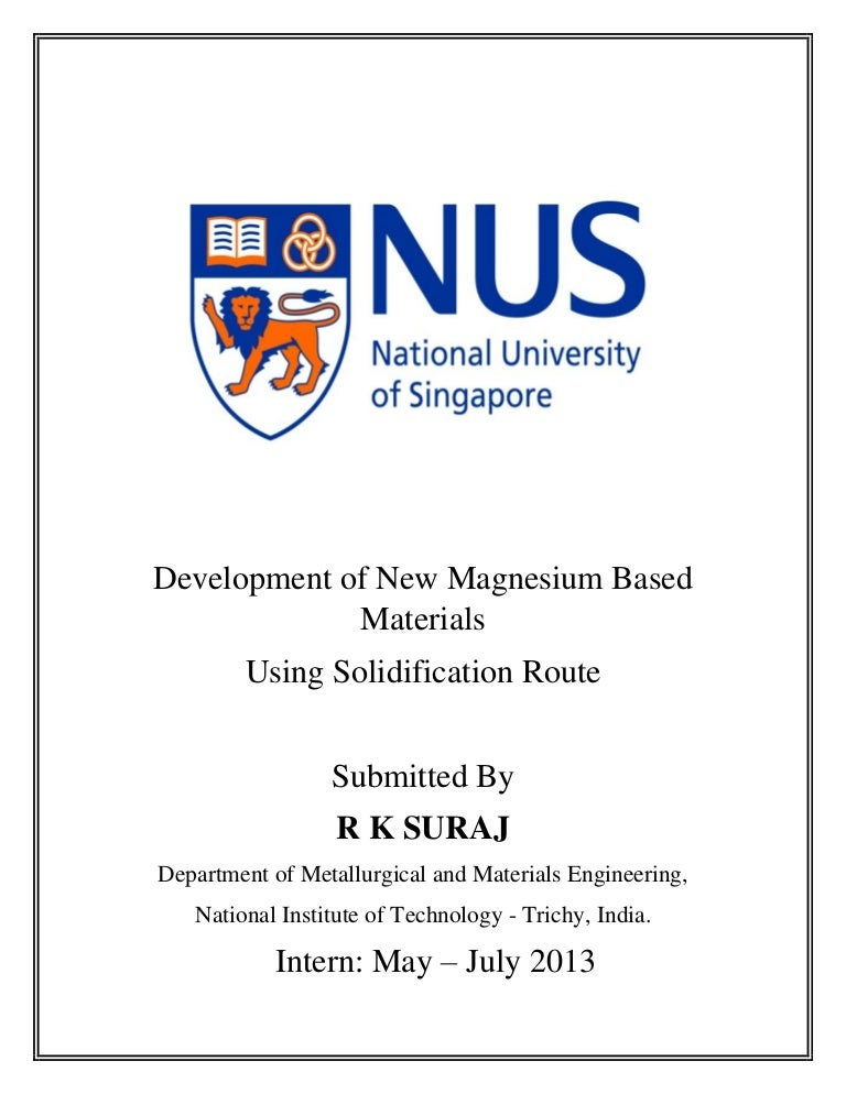 nus internship report (2013)_ r k suraj, Presentation templates