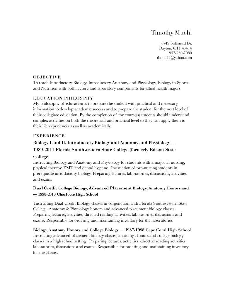 Muehl Biology Resume