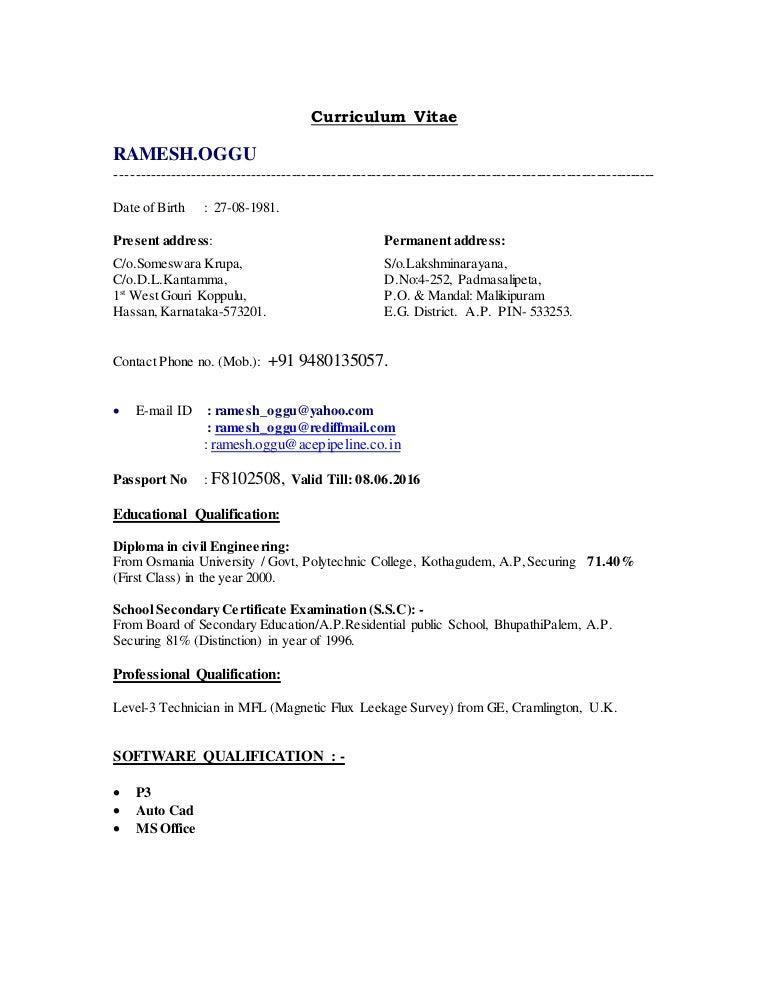Resume of Mr. Ramesh Oggu