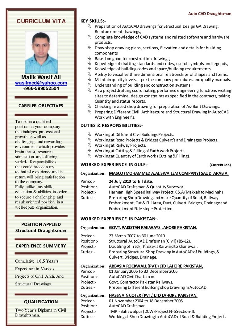 CV FOR AUTOCAD DRAFTSMAN