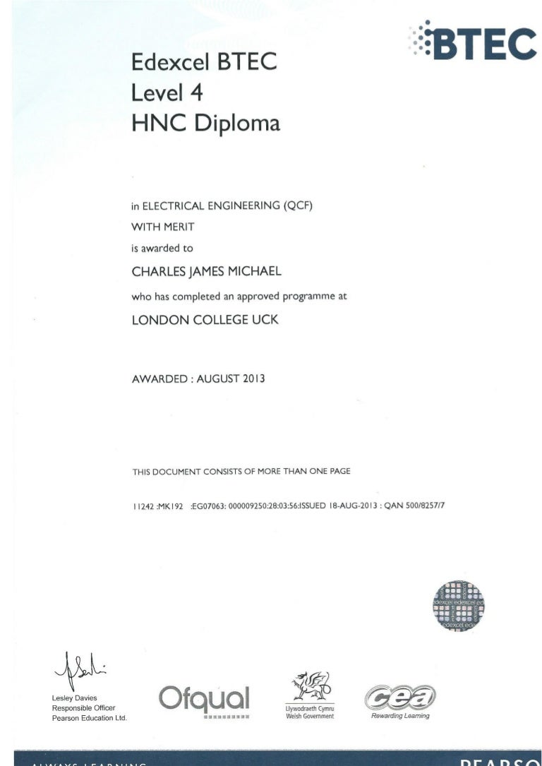 Higher National Certificate In Electrical Engineering