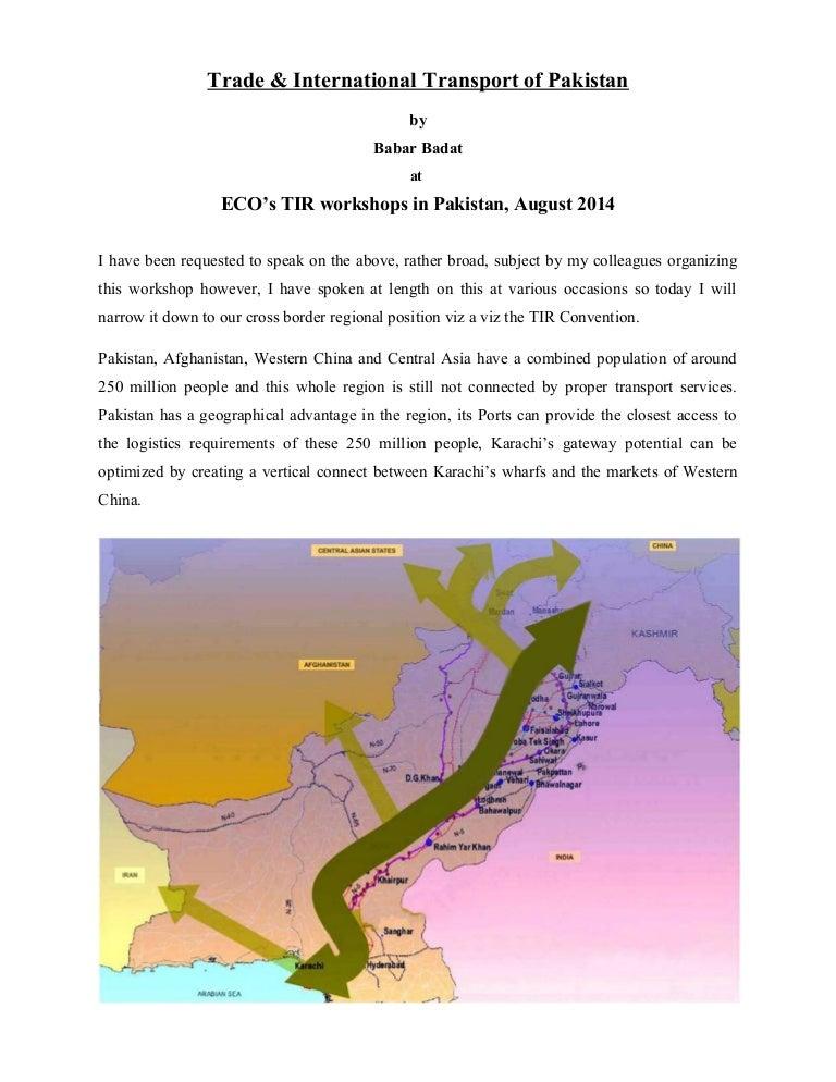 Trade Intl Transport Of Pakistan Babar Badat Paper For Tir Workshop