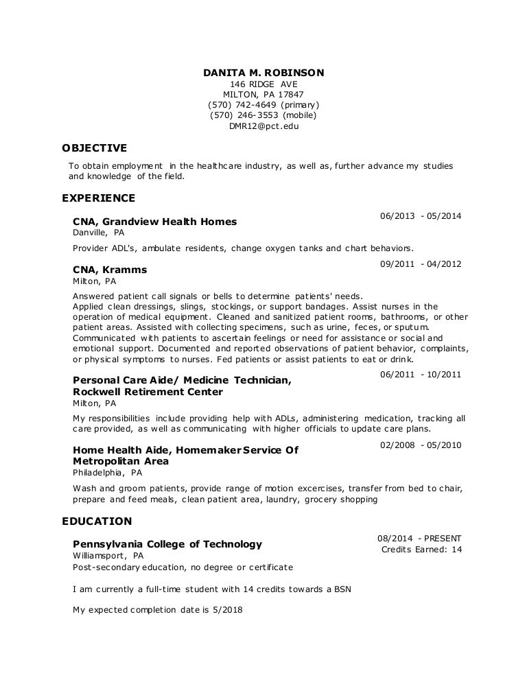 resume danita patient care technician resume sample - Patient Care Technician Sample Resume