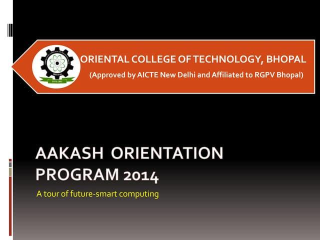 Aakash tablet orientation prog for High school students
