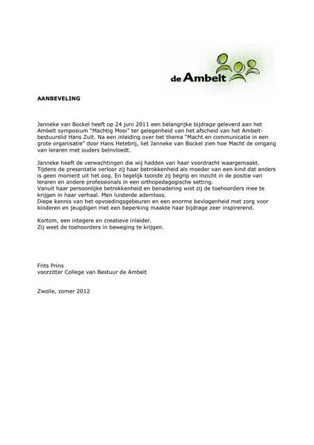 Aanbeveling Frits Prins   Ambelt   Janneke Van Bockel
