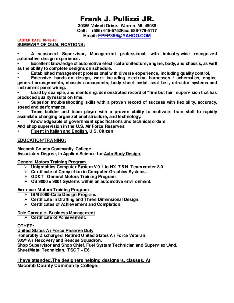 Aa resume frank pullizzi new one 10 18-16