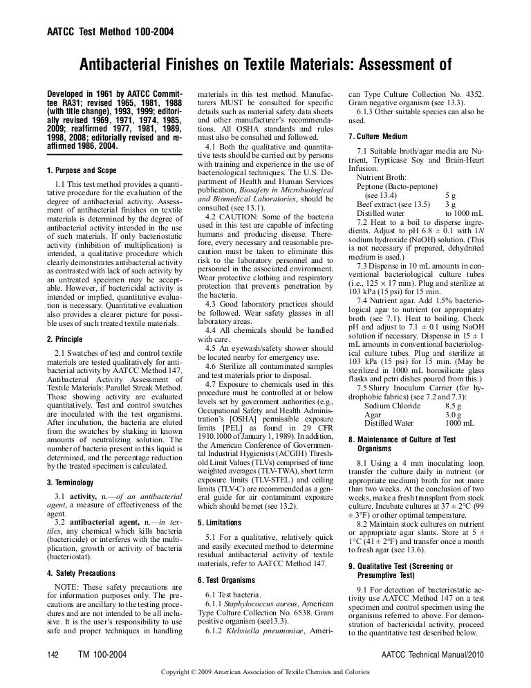 aatcc 100 antimicrobial rh slideshare net aatcc technical manual aatcc technical manual 2013 pdf