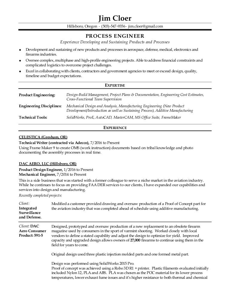 field service engineer resume inspection systems