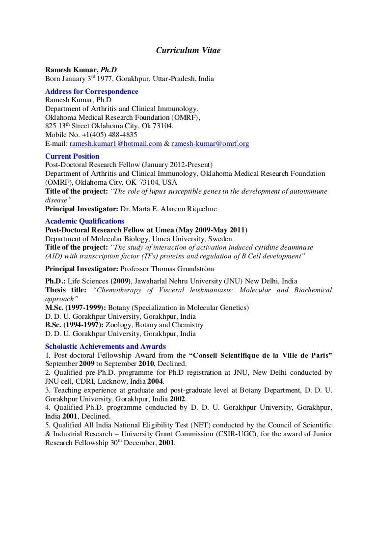 Curriculum -Vitae of Dr. Ramesh Kumar _updated 9-9-15