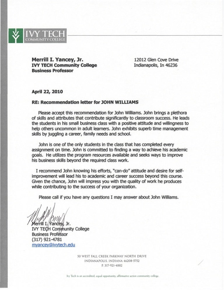 ivy tech letter of recommendation pdf