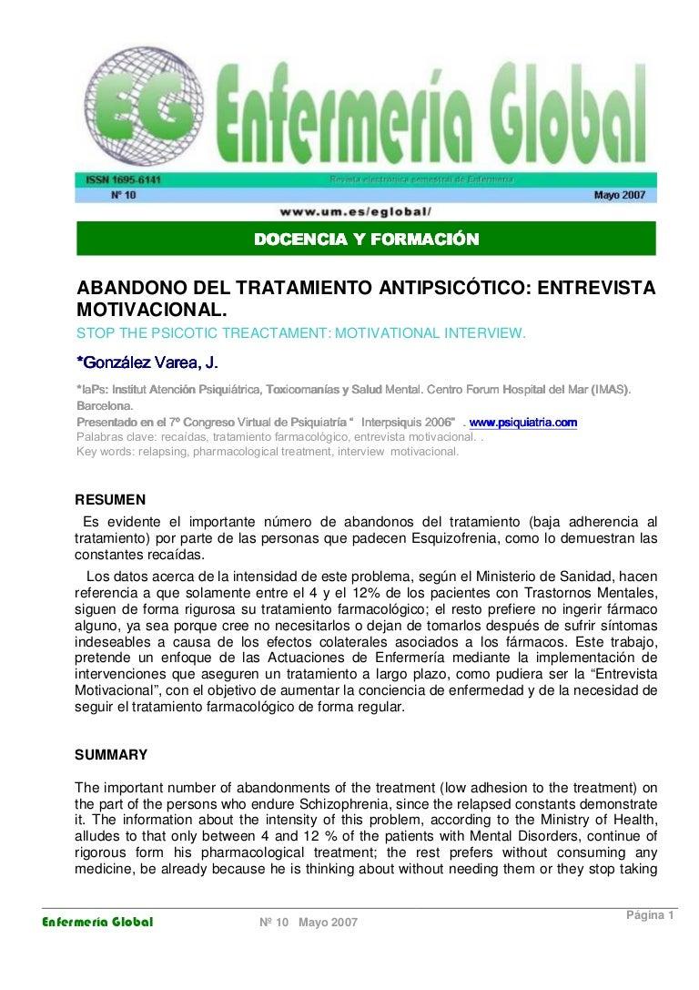 González Varea - Abandono del tratamirnto antipsicotico. entrevista m…