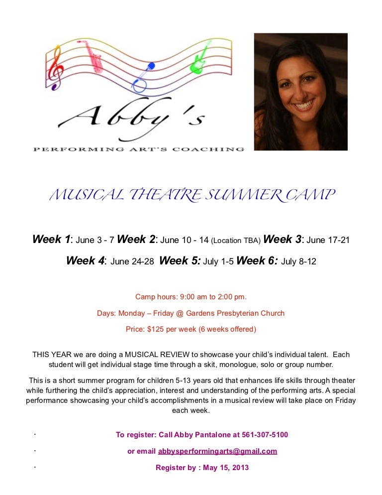 ABBYS Performing Arts 2013 Musical Theatre Summer Camp Info