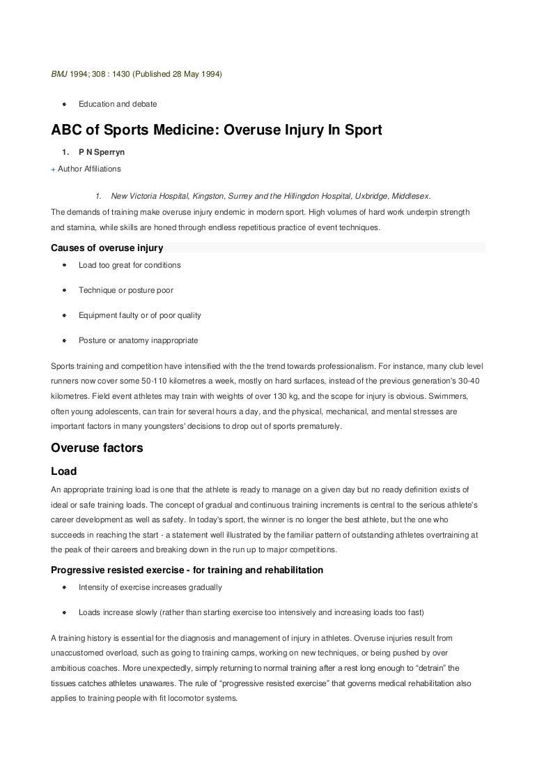 abc of sports medicine, overuse injury in sport