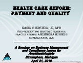 Health Care Reform: Payment and Qualiy