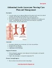 Abdominal Aortic Aneurysm Nursing Care Plan and Management