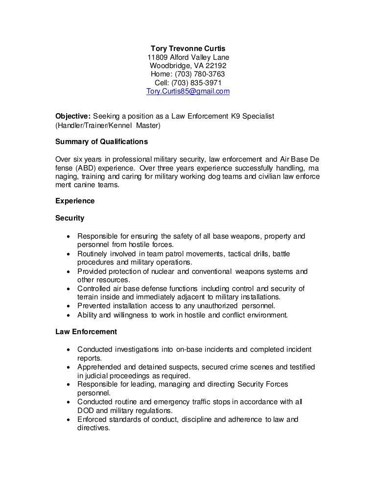 k9 resume. Resume Example. Resume CV Cover Letter