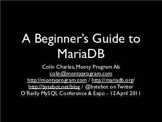 A beginners guide to MariaDB