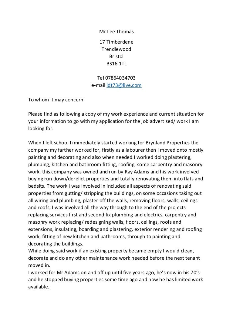 Spec Letter Of Work Experience Fo Job Apps
