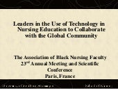 Leaders in the Use of Technology in Nursing Education to Collaborate with the Global Community ABNF 2010