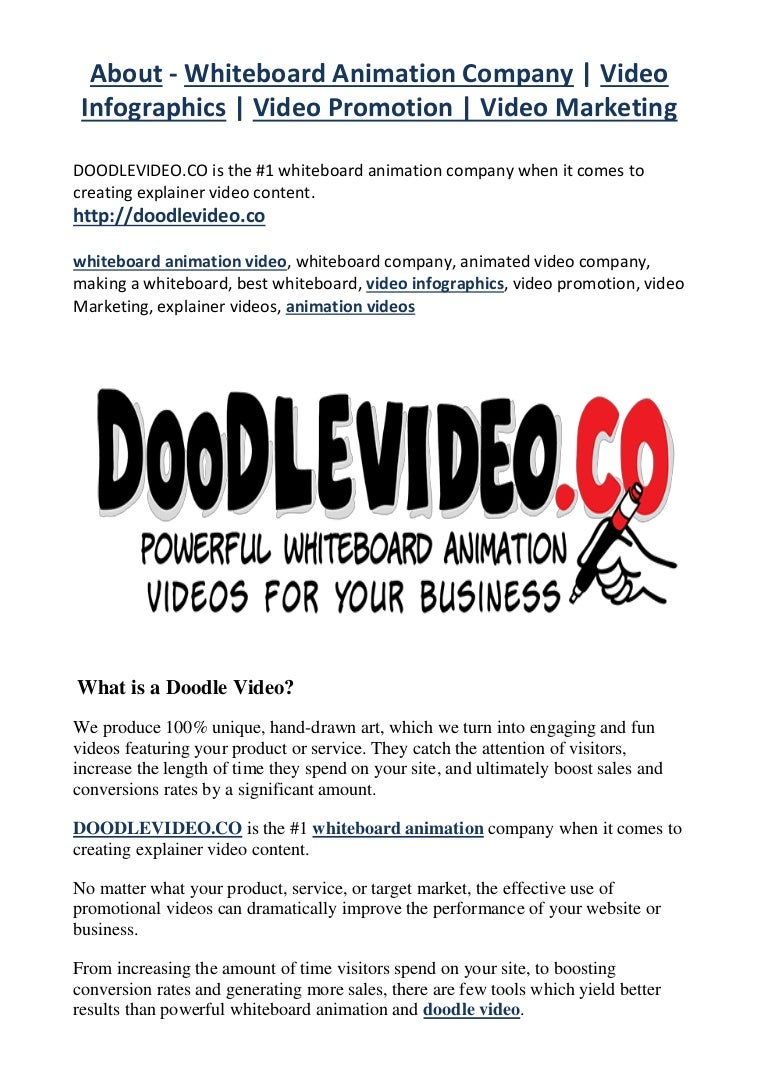 About whiteboard animation company video infographics video