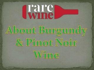 About Burgundy & Pinot Noir Wine