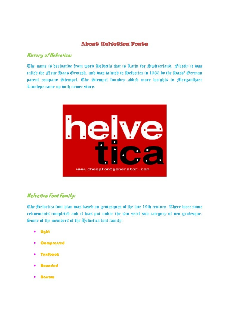 About helvetica fonts