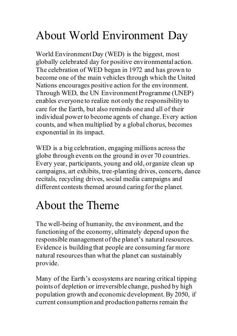 About world environment day