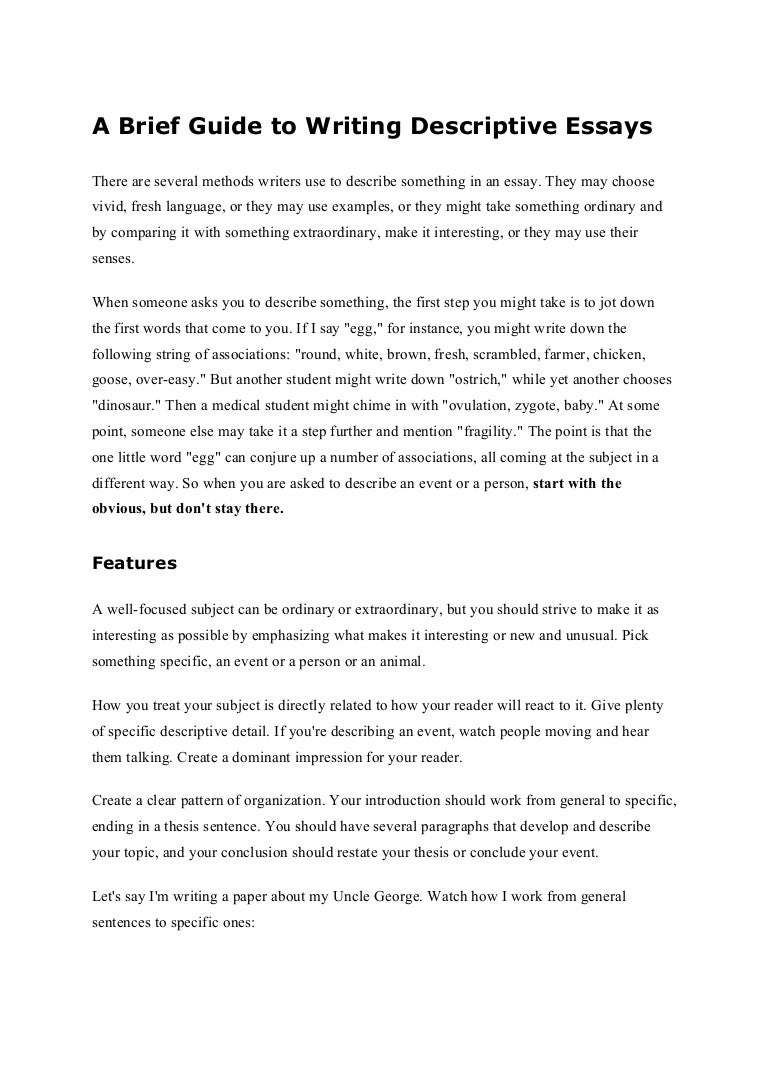 descriptive writing essay cover letter examples of descriptive  a brief guide to writing descriptive essays