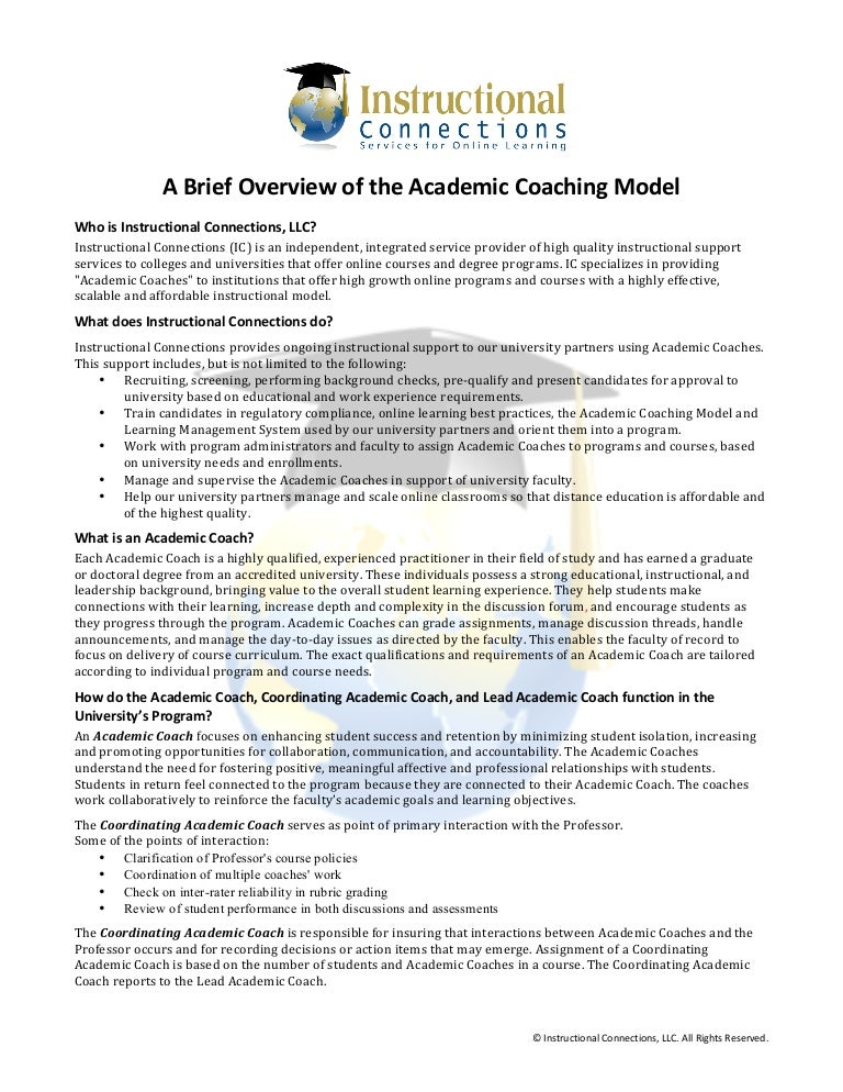 Academic Coaching In Action >> A Brief Overview Of The Academic Coaching Model
