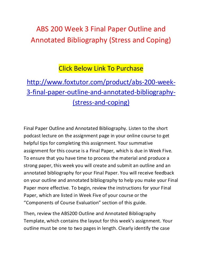 Annotated bibliography on stress management