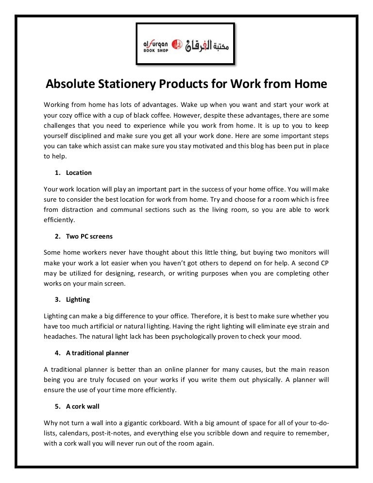 Absolute stationery products for work from home