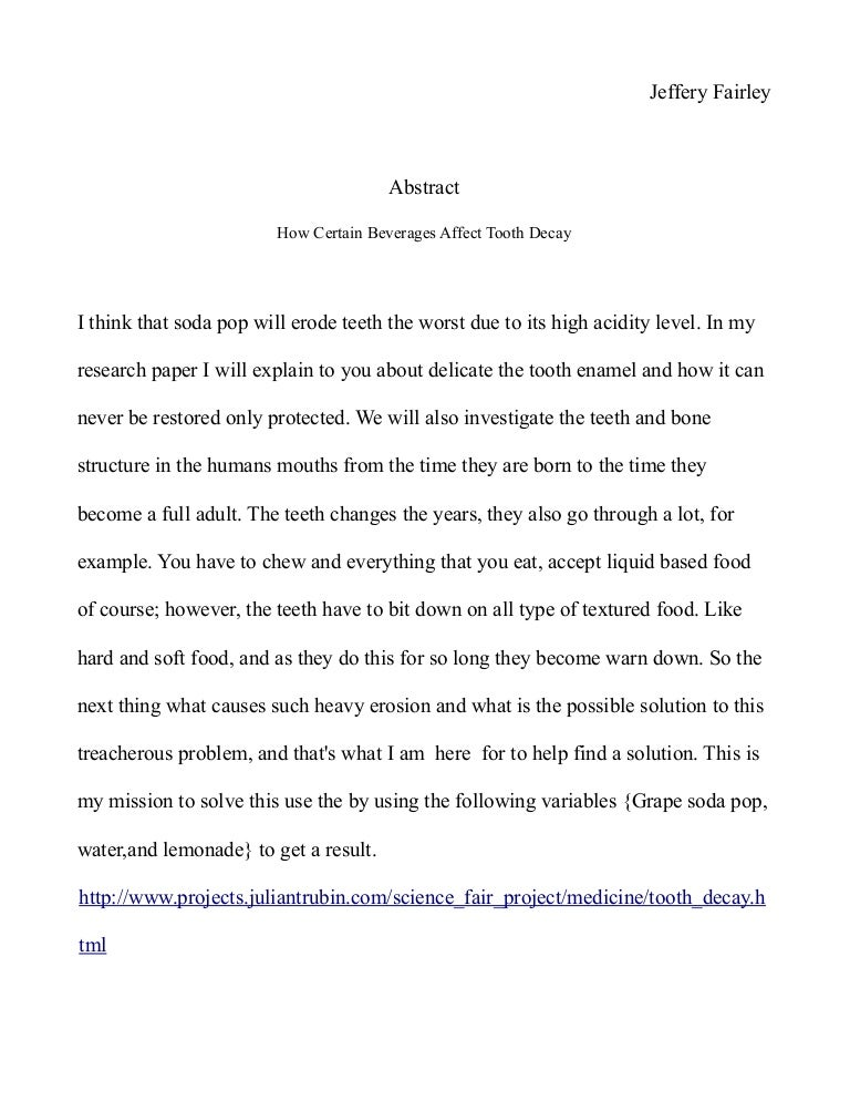 science fair research paper format