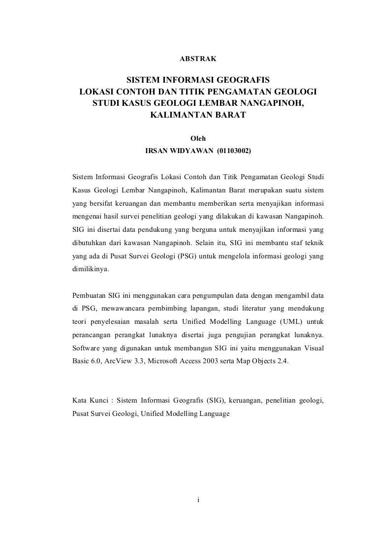 Abstrak Tugas Akhir Sistem Informasi Geografis Lokasi Contoh Dan Tit