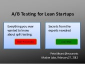A/B Testing for Lean Startups