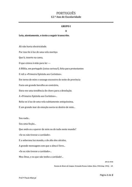 """Poema - Álvaro de Campos - """"ali não havia electricidade"""""""