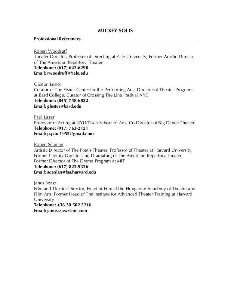 professional references list