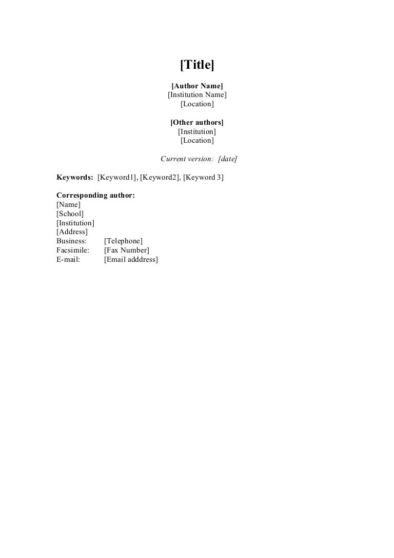 academic paper template template academic paper template
