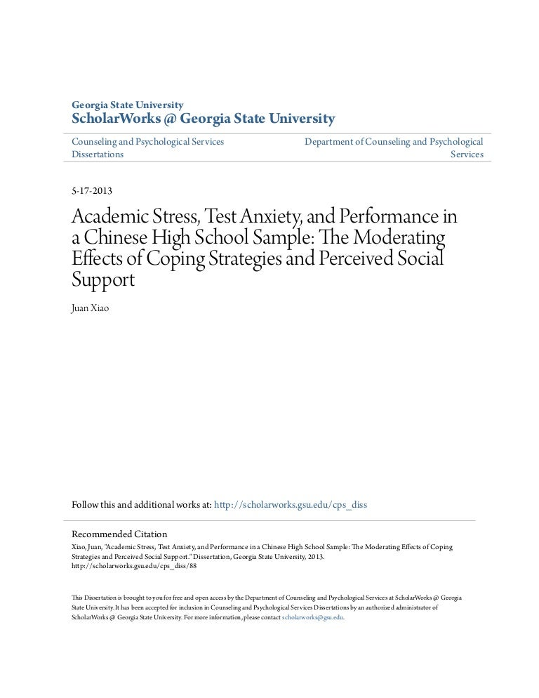 coping response dissertation A comparative study of stress and coping skills among learning disabled and regular education students by natalie r davenport a dissertation submitted to the.